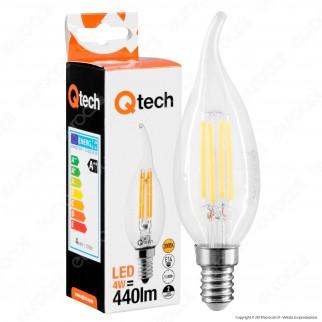 Qtech Lampadina LED E14 4W Candela Fiamma Filamento