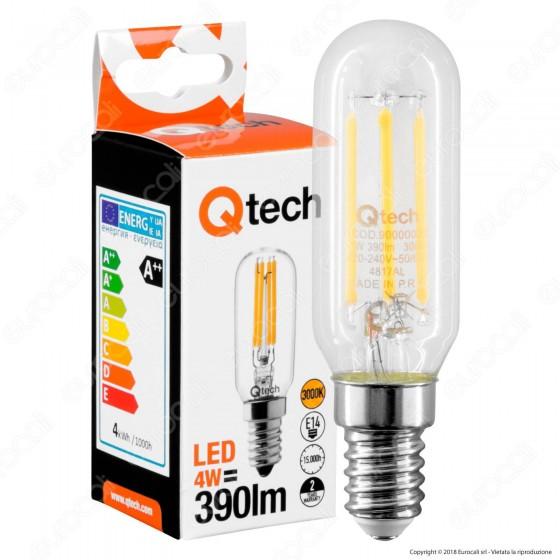Qtech Lampadina LED E14 4W Tubolare T25 Filamento