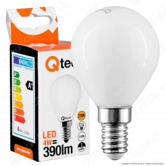 Qtech Lampadina LED E14 4W MiniGlobo P45 White Filamento