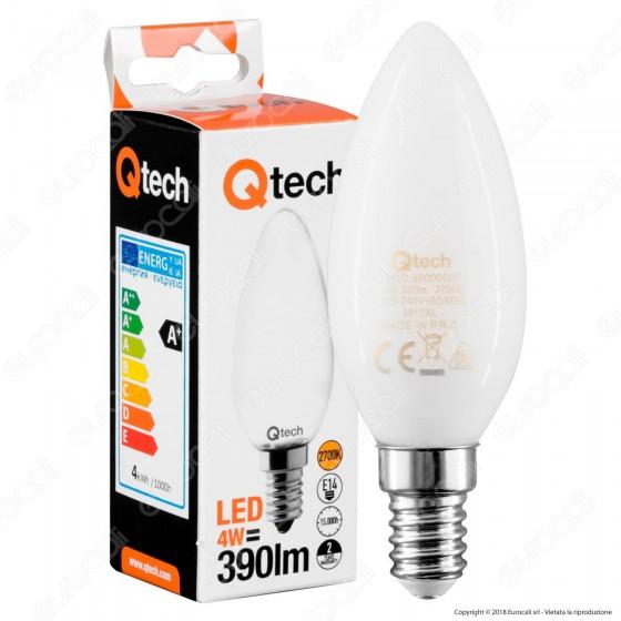 Qtech Lampadina LED E14 4W Candela White Filamento
