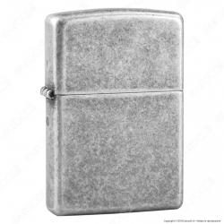 Accendino Zippo Mod. 121FB Antique Silver Plate - Ricaricabile Antivento