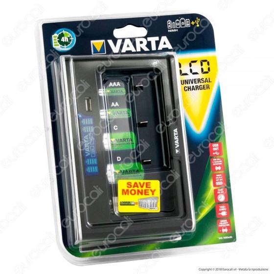 Varta Caricabatterie Universale Con Display LED e Presa USB
