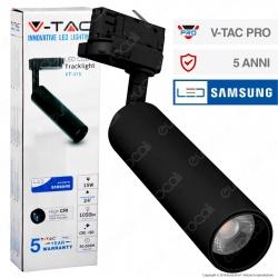 V-Tac PRO VT-415 Track Light LED COB 15W Colore Nero Chip Samsung - SKU 359 / 360 / 361