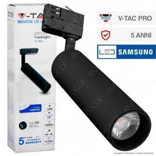 V-Tac PRO VT-420 Track Light LED COB 20W Colore Nero Chip Samsung - SKU 366