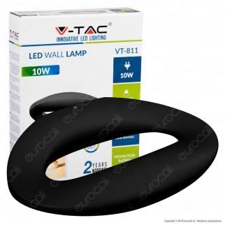 V-Tac VT-811 Lampada da Muro Wall Light LED 10W Forma Arrotondata Colore Nero - SKU 8309 / 8310