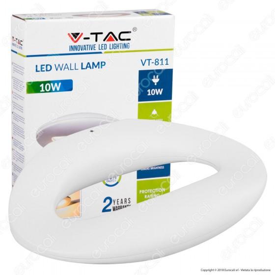 V-Tac VT-811 Lampada da Muro Wall Light LED 10W Forma Arrotondata Colore Bianco - SKU 8307 / 8308