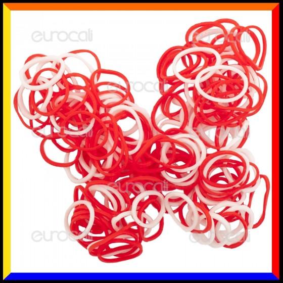 Loom Bands Elastici Colorati Rosso / Bianco - Bustina da 600 pz