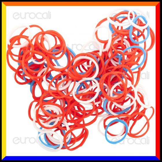 Loom Bands Elastici Colorati Rosso / Bianco / Blu - Bustina da 600 pz
