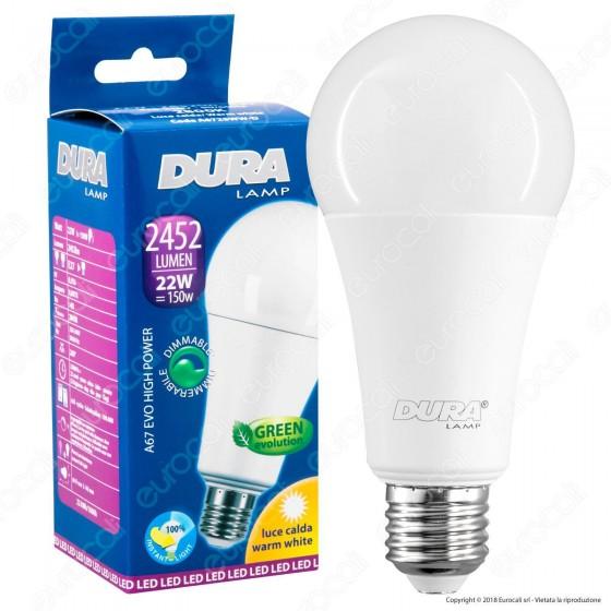 Duralamp High Power Evo Lampadina LED E27 22W Bulb A67 Dimmerabile