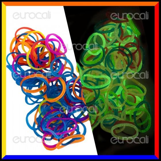 Loom Bands Elastici Colorati Glow Fosforescenti - Bustina da 600pz