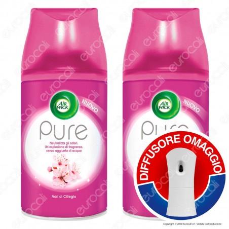 2 Ricariche Air Wick Pure Fiori di Ciliegio + Diffusore Freshmatic Autospray