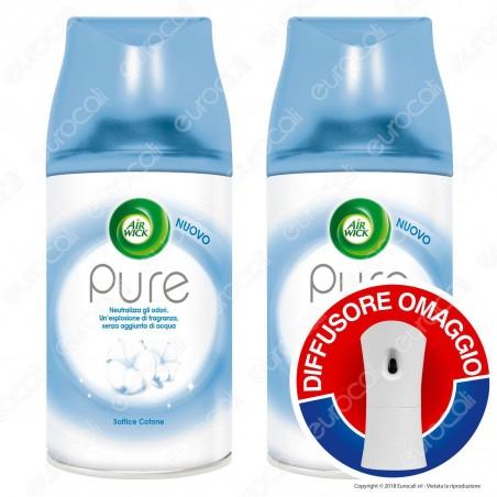 2 Ricariche Air Wick Pure Soffice Cotone + Diffusore Freshmatic Autospray