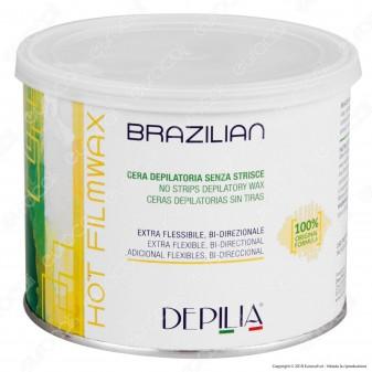 Depilia Brazilian Hot Filmwax Cera Depilatoria senza Strisce per Ceretta - 1 Barattolo da 500ml