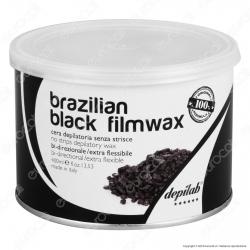 Depilab Brazilian Black Filmwax Cera Depilatoria senza Strisce per Ceretta - 1 Barattolo da 400ml