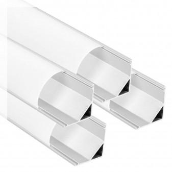V-Tac 4 Profili Angolari in Alluminio per Strisce LED Copertura Opaca - Lunghezza 2 metri - SKU 99572