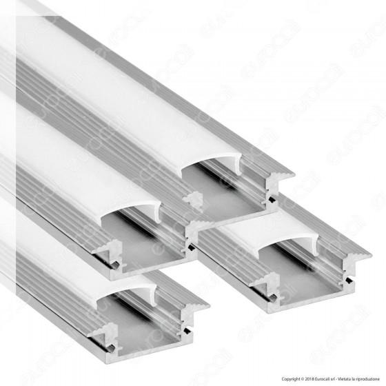 V-Tac 4 Profili in Alluminio per Strisce LED Copertura Opaca - Lunghezza 2 metri - SKU 9991