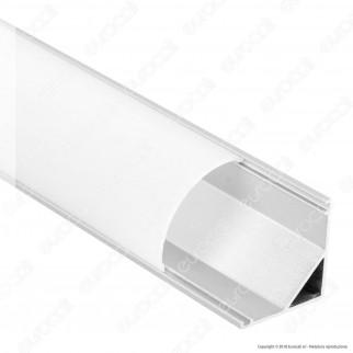 V-Tac Profilo Angolare in Alluminio per Strisce LED Copertura Opaca - Lunghezza 1 metro - SKU 9947