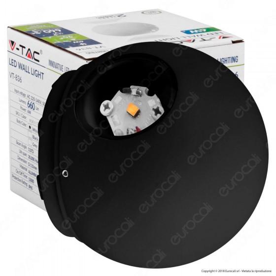 V-Tac VT-836 Lampada da Muro Wall Light LED 6W Forma Sferica Colore Nero IP65 - SKU 8303 / 8304