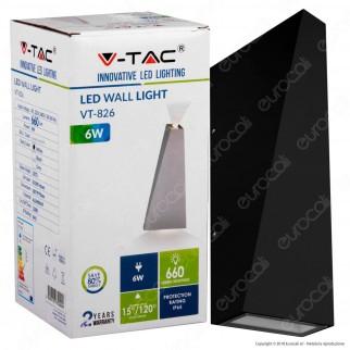 V-Tac VT-826 Lampada da Muro Wall Light LED 6W Colore Nero IP65 - SKU 8297 / 8298