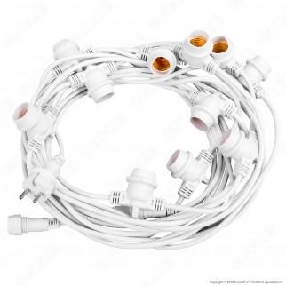 FAI Catenaria 11 metri per 11 Lampadine LED E27 Colore Bianco - per Esterno