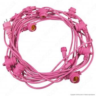 FAI Catenaria 11 metri per 11 Lampadine LED E27 Colore Rosa - per Esterno