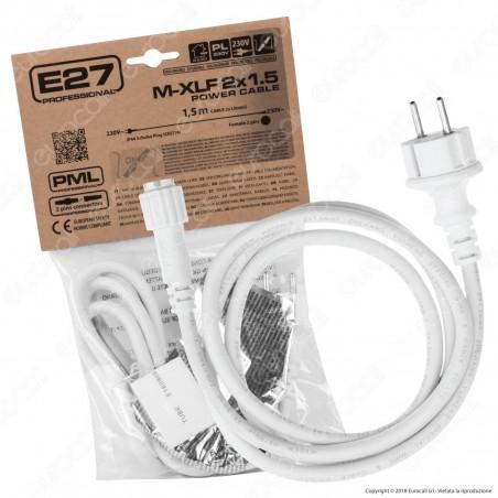 Cavo di Alimentazione Schuko con Connettore Femmina 2Pin Colore Bianco IP44 1,5 Metri