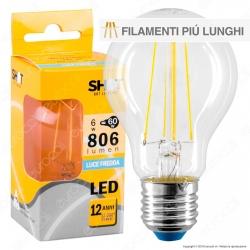 Bot Lighting Shot Lampadina LED E27 6W Bulb A60 Filamento Extra-Lungo - mod. WLD1008X1