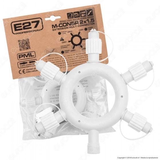 Connettore Rigido Multiplo a 5 Uscite Colore Bianco IP44