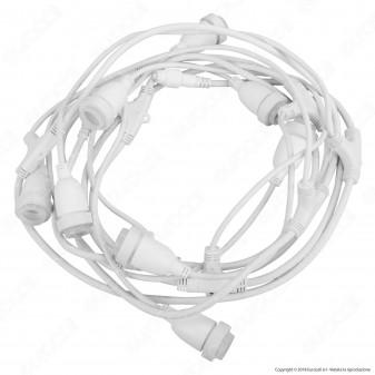 Catenaria 5 metri per 8 Lampadine LED E27 Prolungabile Colore Bianco H70 - per Esterno