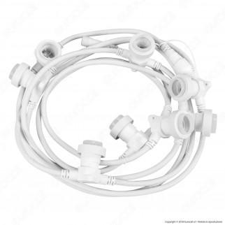 Catenaria 5 metri per 8 Lampadine LED E27 Prolungabile Colore Bianco Lineare - per Esterno