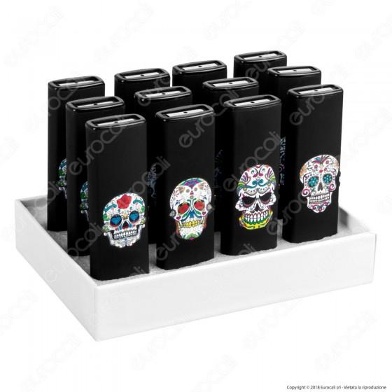 Champ Black Skull Accendino USB Ricaricabile Antivento - Box di 12 Accendini