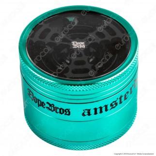 Grinder Tritatabacco 4 Parti mod. Dope Bros con Lame Circolari Ø62mm - Coperchio Trasparente