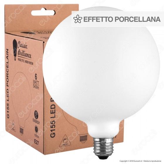 Daylight Lampadina LED COB E27 6W Globo G155 Effetto Porcellana Dimmerabile
