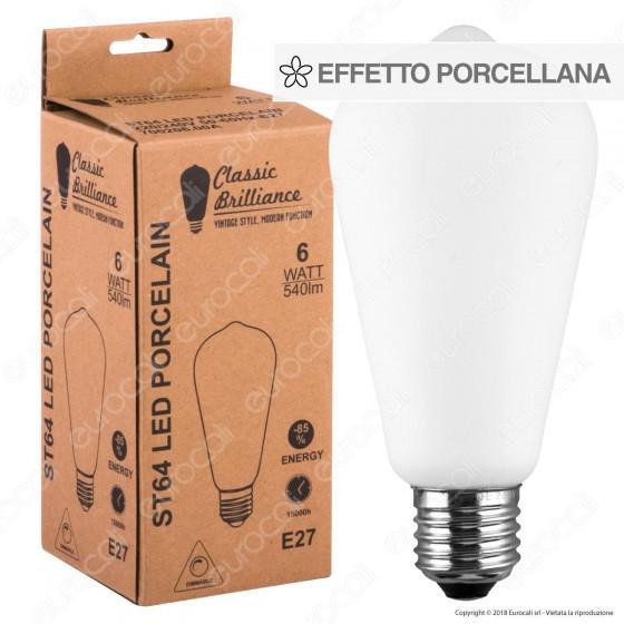 Daylight Lampadina LED COB E27 6W Bulb ST64 Effetto Porcellana Dimmerabile