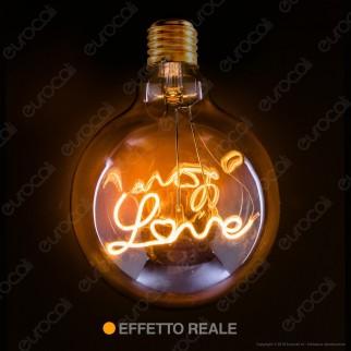 Daylight Lampadina LED COB E27 5W Globo G125 Filamento Love Vetro Ambrato Dimmerabile
