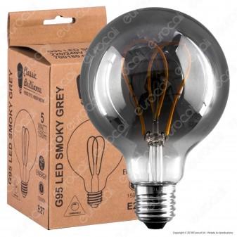 Daylight Lampadina E27 Filamento LED a Doppio Arco 5W Globo G95 con Vetro Oscurato Dimmerabile