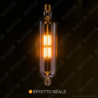 Daylight Lampadina E27 LED Filamento 5W Tubolare T75 con Vetro Ambrato Dimmerabile