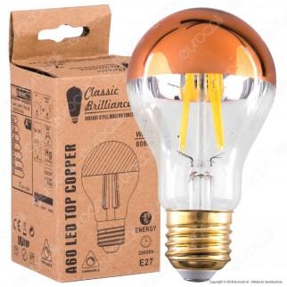 Daylight Lampadina E27 LED Filamento 7W Bulb A60 con Calotta Ramata Dimmerabile