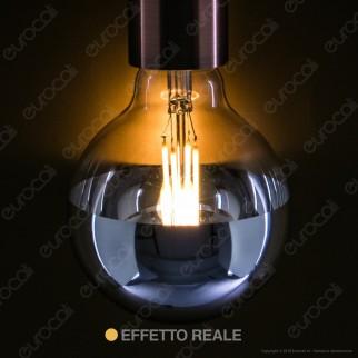 Daylight Lampadina E27 LED Filamento 7W Globo G95 con Calotta Cromata Dimmerabile