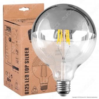 Daylight Lampadina E27 LED Filamento 7W Globo G125 con Calotta Cromata Dimmerabile