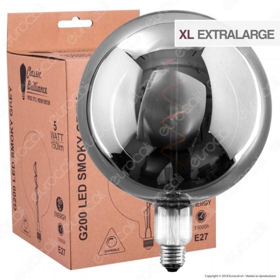 Daylight Lampadina E27 Filamento LED a Spirale 5W Globo G200 con Vetro Oscurato Dimmerabile