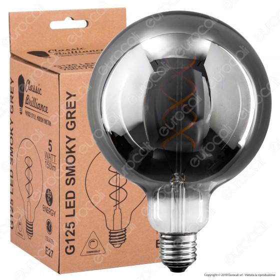 Daylight Lampadina E27 Filamento LED a Spirale 5W Globo G125 con Vetro Oscurato Dimmerabile