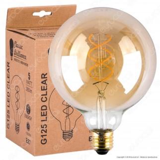 Daylight Lampadina E27 Filamento LED a Doppia Spirale 5W Globo G125 con Vetro Ambrato Dimmerabile