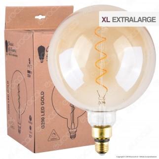 Daylight Lampadina E27 Filamento LED a Spirale 5W Globo G200 con Vetro Ambrato Dimmerabile