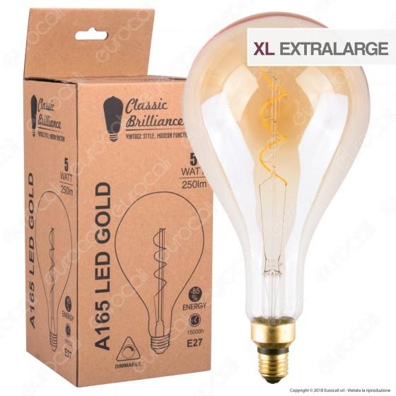 Daylight Lampadina E27 Filamento LED a Spirale 5W Bulb A165 con Vetro Ambrato Dimmerabile