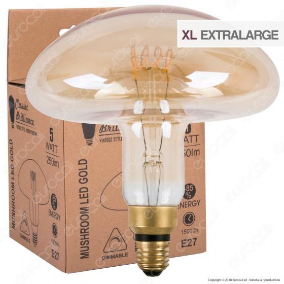 Daylight Lampadina E27 Filamento LED a Spirale 5W Forma Fungo con Vetro Ambrato Dimmerabile