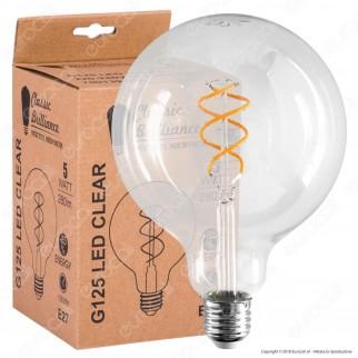 Daylight Lampadina E27 Filamento LED a Doppa Spirale 5W Globo G125 Dimmerabile