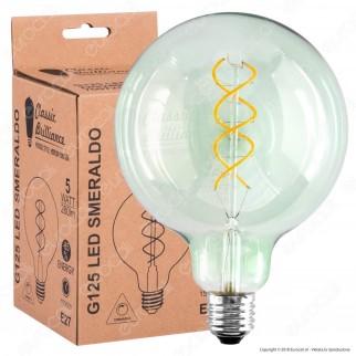 Daylight Lampadina E27 Filamento LED a Doppia Spirale 5W Globo G125 con Vetro Verde Smeraldo Dimmerabile