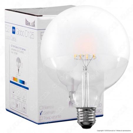 Ideal Lux Lampadina E27 Filamenti LED 8W Globo G125 con Calotta Satinata - mod. 157580