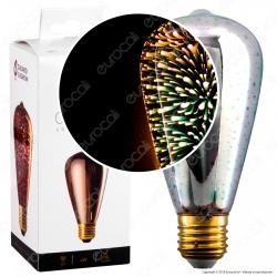 Girard Sudron Lampadina E27 Filamento LED Cosmos 4W Bulb ST64 Vetro Specchiato Argento Effetto 3D - mod. 16011